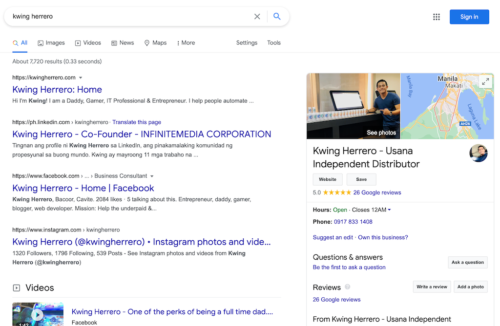 Kwing Herrero on Google search result
