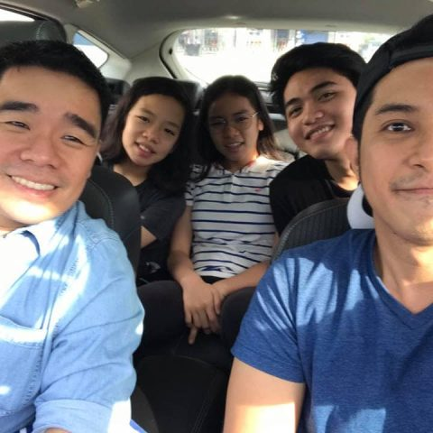 Photo inside mt car with Dennis Sy and his kids